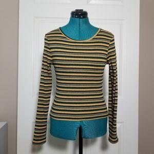 rue21 yellow striped long sleeve tee
